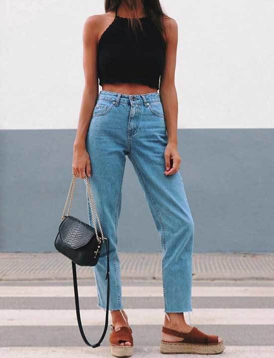 Mom Jeans Platform Heel Sandals Outfit Summer