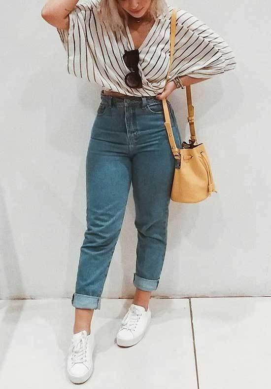 Striped Blouse and Mom Jeans Outfit Summer