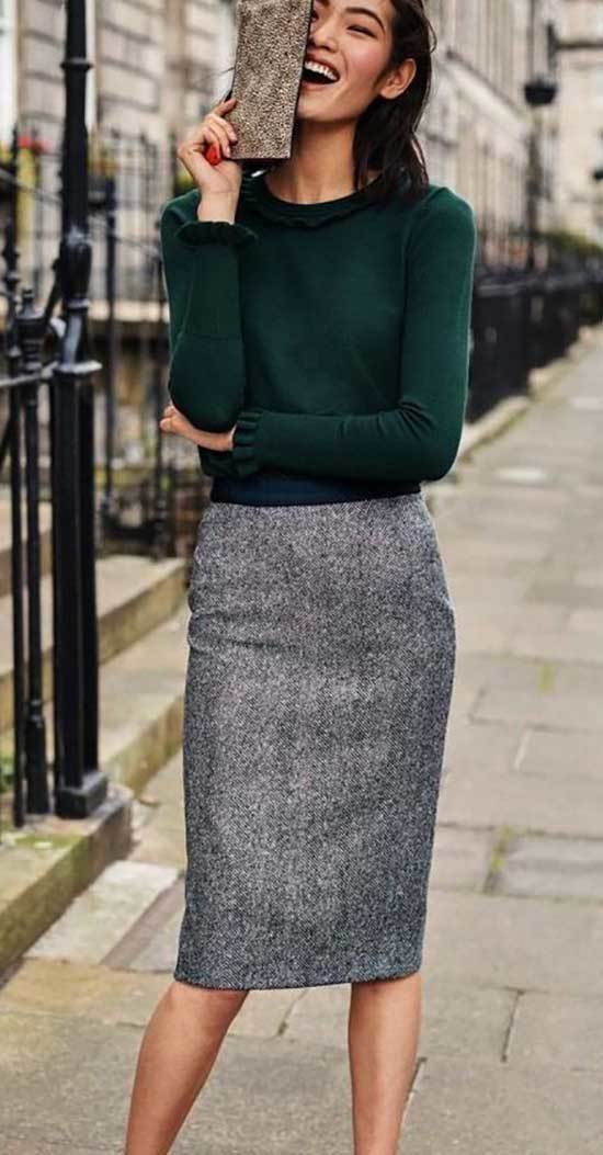 Fall Casual Work Skirt Outfits