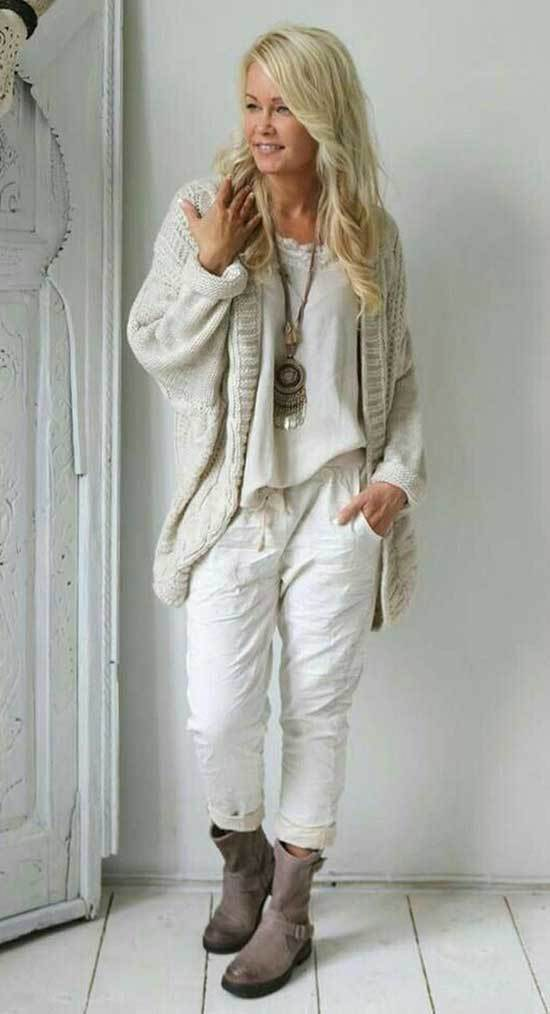 White Fall Outfits for Women Over 50