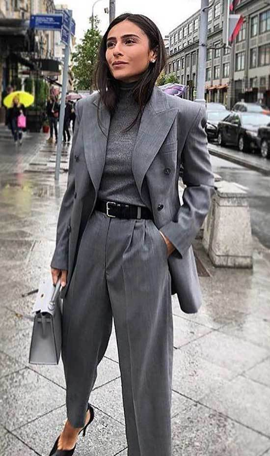 Fall Casual Work Gray Outfits