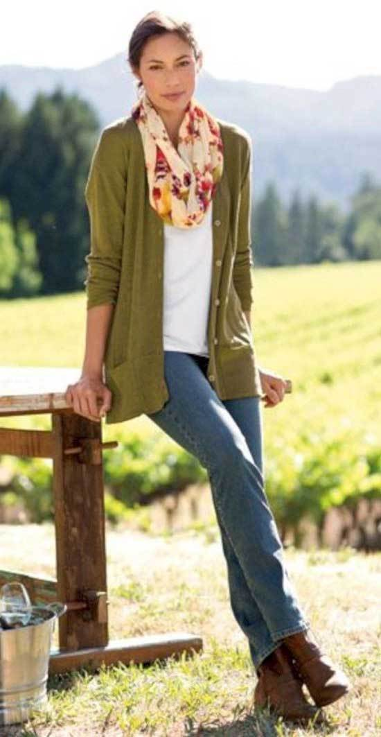 Fall Scarf Outfits for Women Over 50