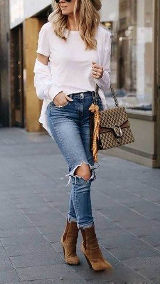 Winter Outfits with Ripped Jeans