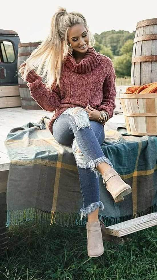 Trendy Winter Outfits with Jeans