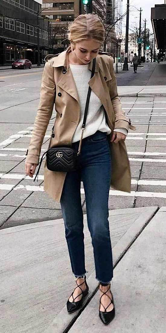 Nude Trench Coat Outfit Womens-13