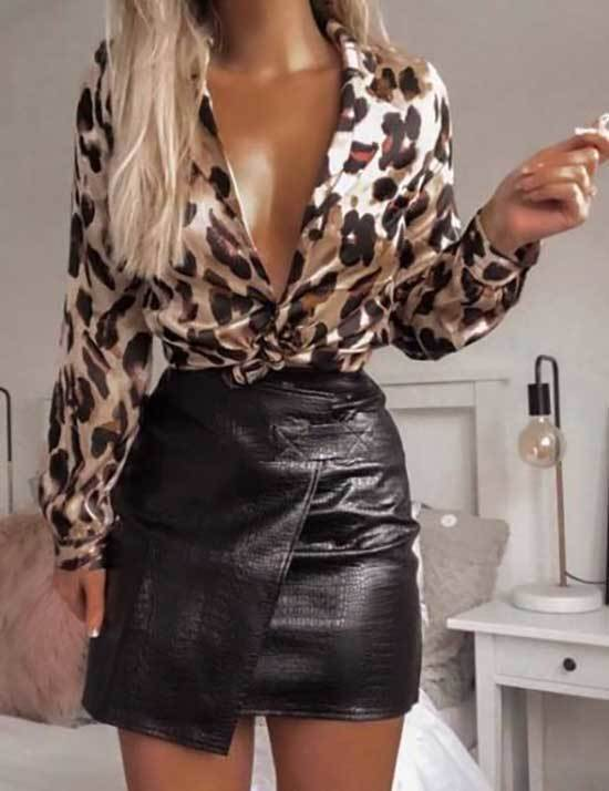 Trendy Night Out Leather Skirt Outfits-15
