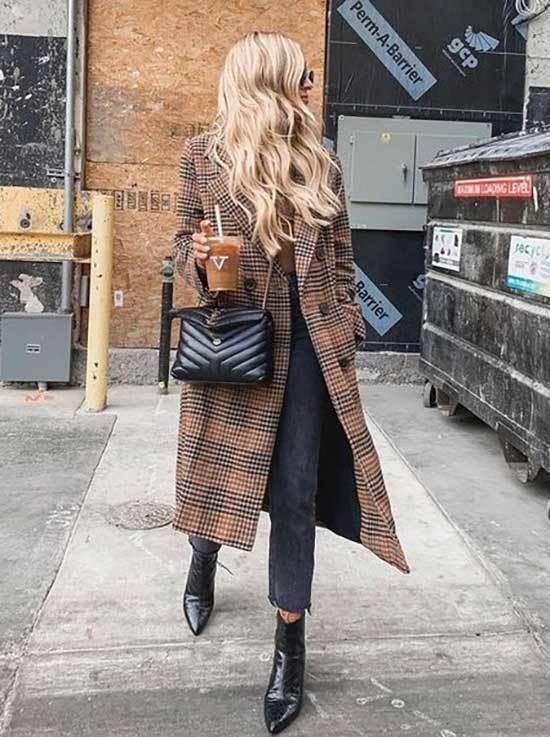 Plaid Coat Street Style Winter 2019-18