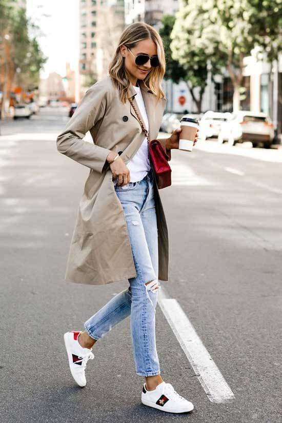 Trench Coat Sneakers Outfit Womens-6