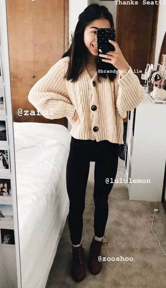 Simple Winter Outfits for School-7