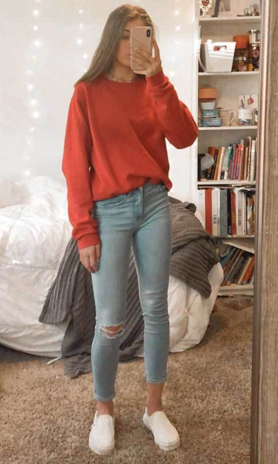 Simple Jeans Outfits for School-8