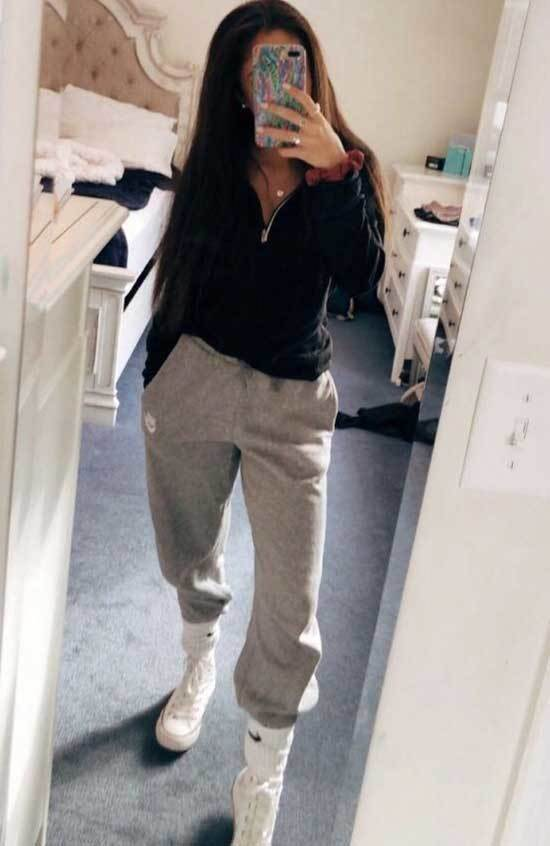 Simple Jogger Pants Outfits for School-9