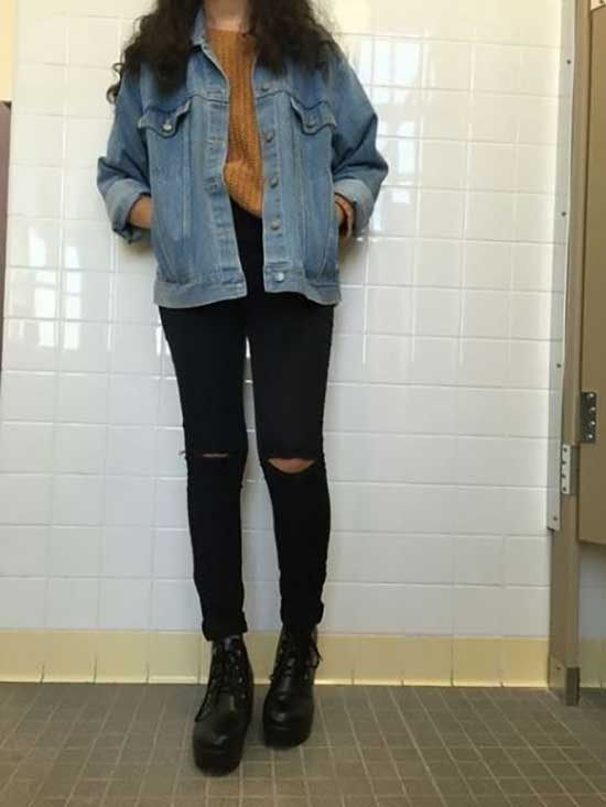 Jean Jacket Aesthetic Outfits-10