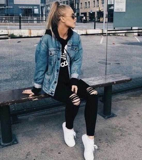 Casual Jean Jacket Outfits-18