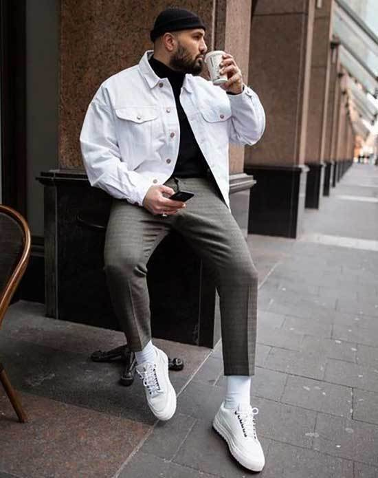 Mens Simple White Sneakersoutfits-21