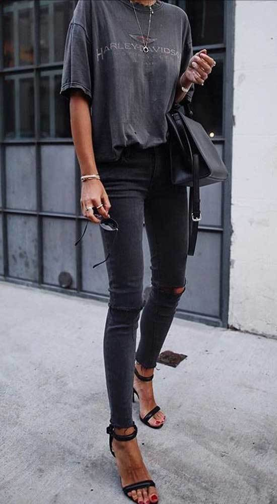 Casual Spring Black Jeans Outfits-29