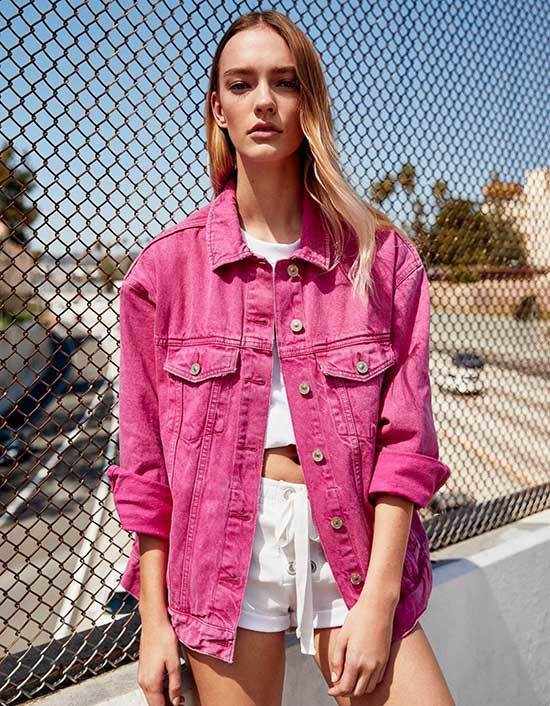 Pink Jeans Jacket Outfit Spring