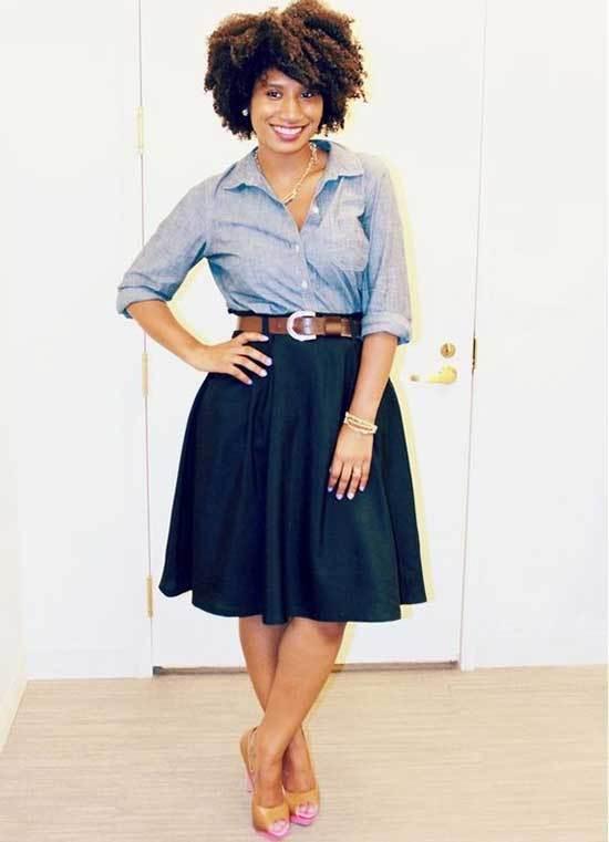 Business Casual Teacher Navy Skirt Outfits-10