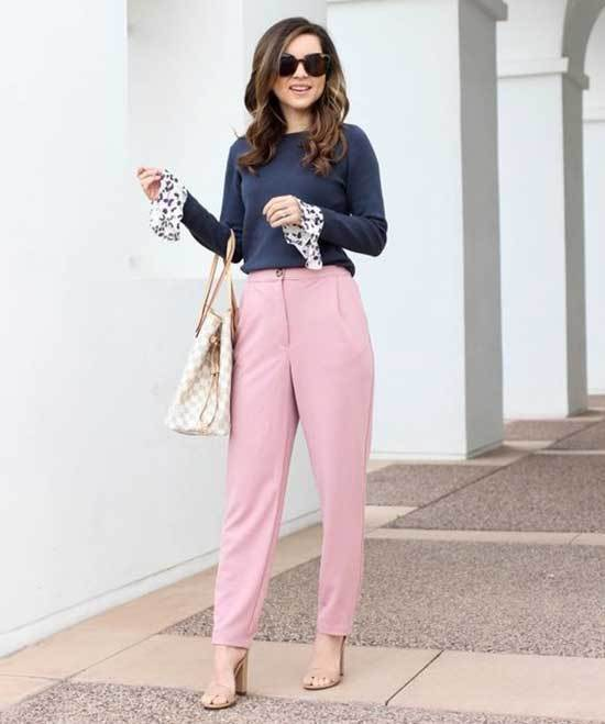 Classy Pink Trousers Outfit 2020-11