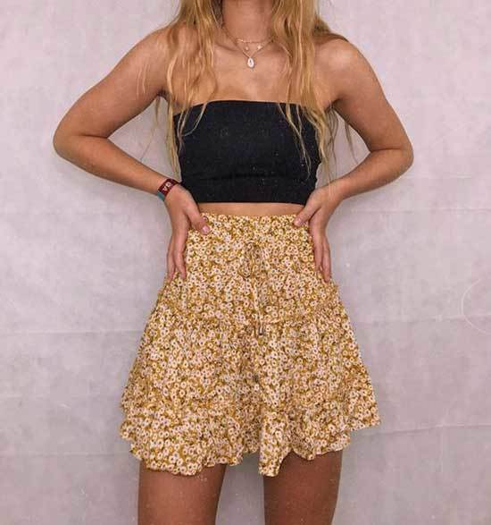 Cute Flare Skirt Summer Outfits-11