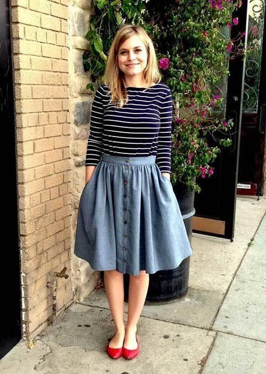 Business Casual Teacher Midi Skirt Outfits-11