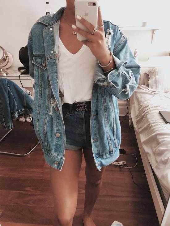 Oversized Jean Jacket Mini Shorts Outfit Ideas-12