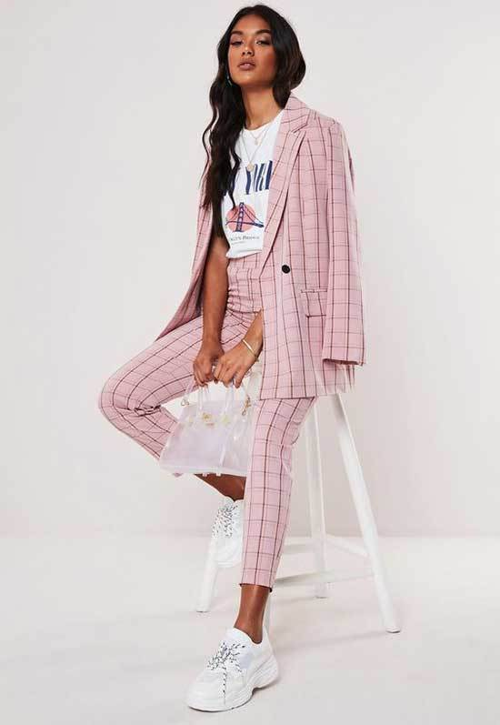 Pink Checkered Trousers Outfit 2020-13