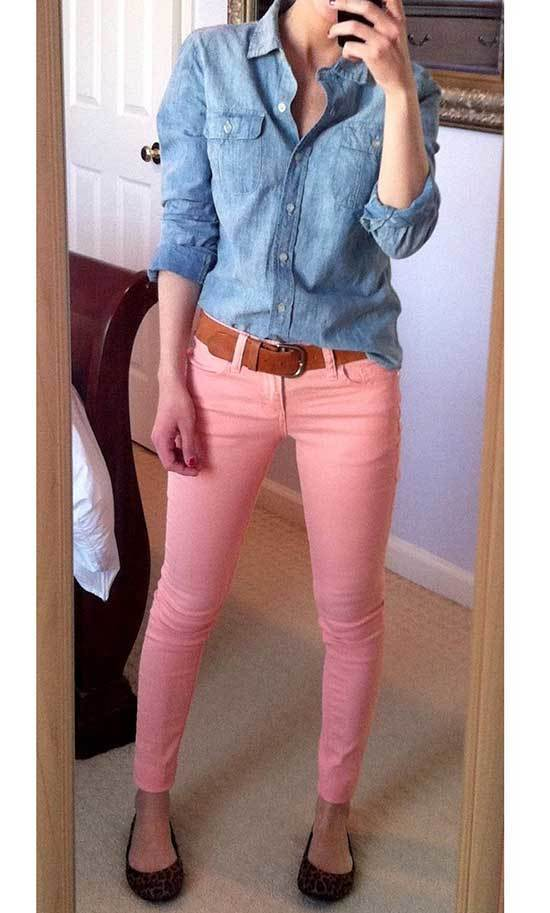 Pink Trousers Denim Shirts Outfit 2020-14
