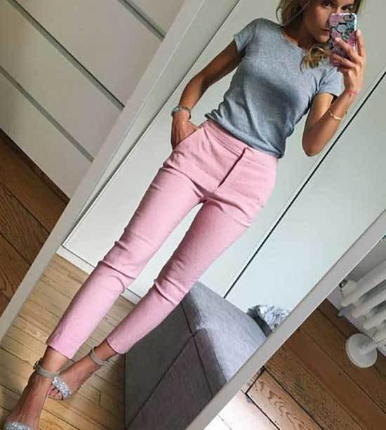 Pink Trousers Gray Shirt Outfit 2020-16