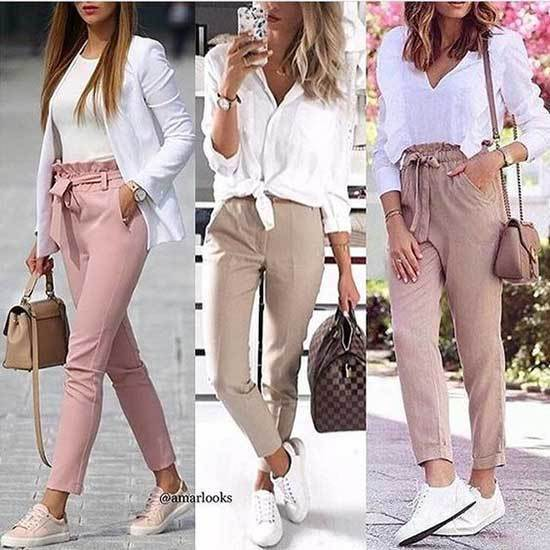 Casual Pink Trousers Outfit 2020-17