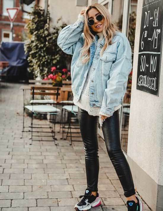 Oversized Jean Jacket Leather Pants Outfit Ideas-17