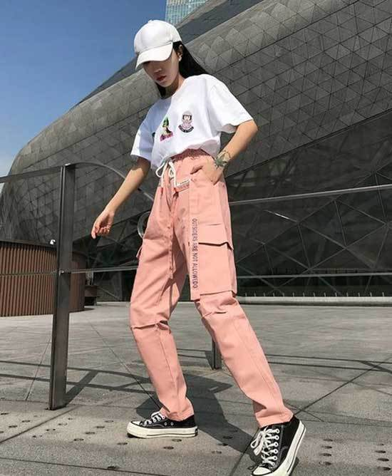 Sporty Pink Trousers Outfit 2020-18