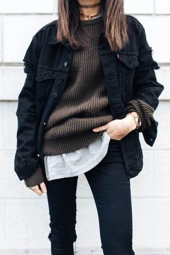 Black Oversized Jean Jacket Outfit Ideas-19