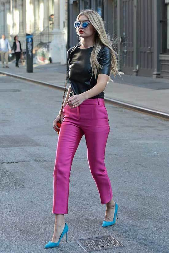 Gigi Hadid Pink Trousers Outfit 2020-19