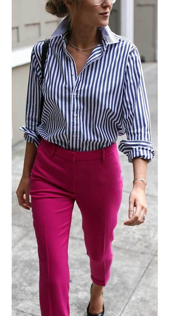 Simple Pink Trousers Outfit 2020-20