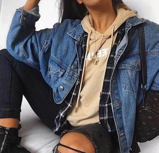 Oversized Jean Jacket Outfit Ideas-26