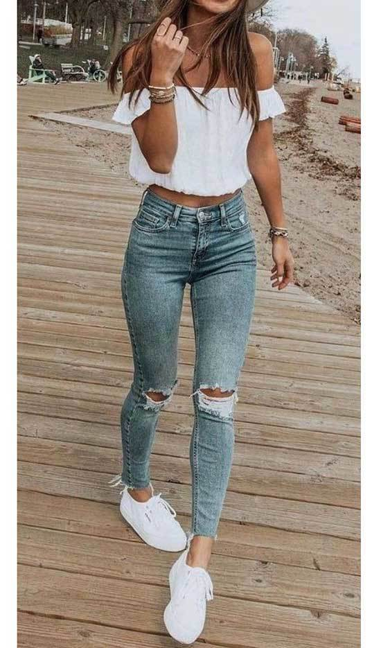 Cute Ripped Denim Summer Outfits-28