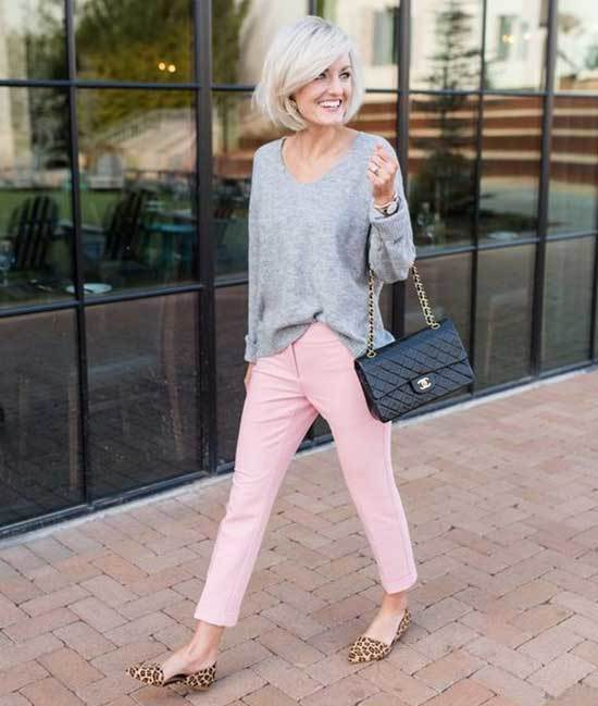 Pink Trousers Gray Sweater Outfit 2020-8