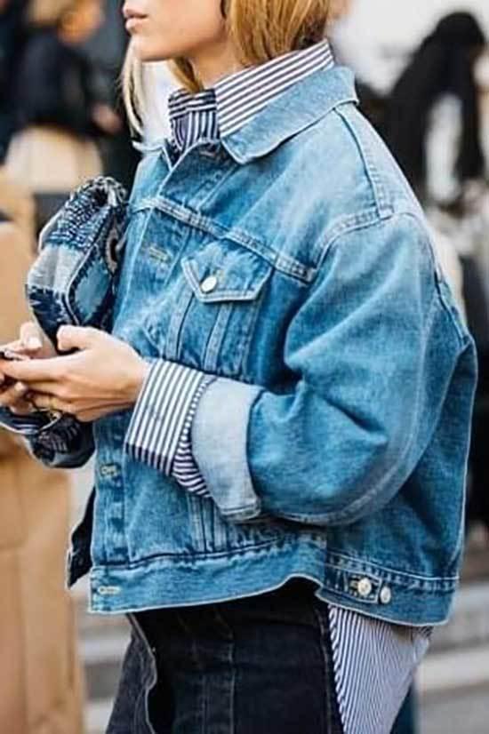 Street Style Oversized Jean Jacket Outfit Ideas-8