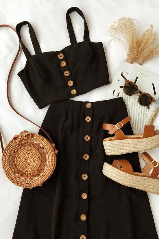 Cute Two Piece Midi Dress Summer Outfits-8