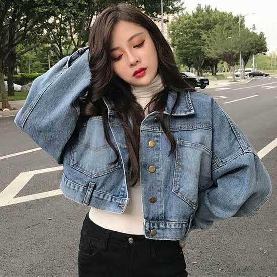 Oversized Jean Jacket Korean Outfit Ideas-9