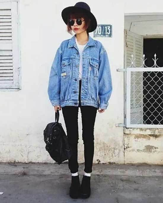 Outfits with Oversized Jean Jacket