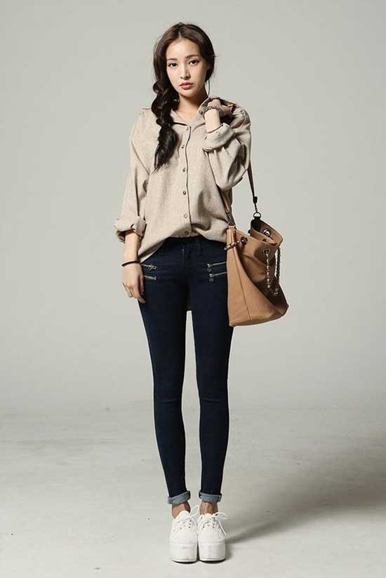 Oversized Shirt Korean Girl Outfits-10