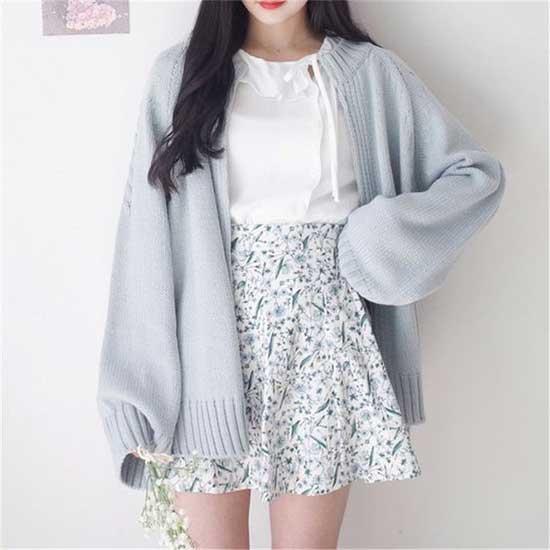 Korean Girl Light Blue Cardigan Outfits-11