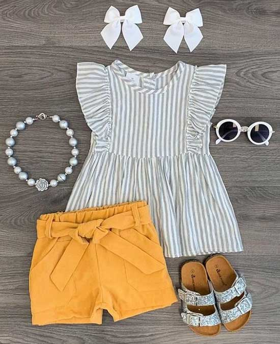 Pretty Mustard Shorts for Little Girls-11