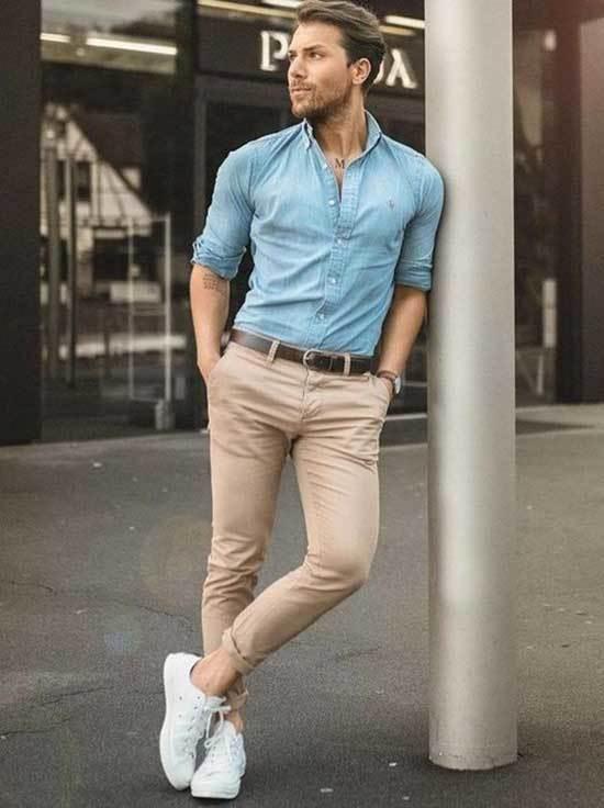 Denim Shirt White Shoes Outfit Men-12