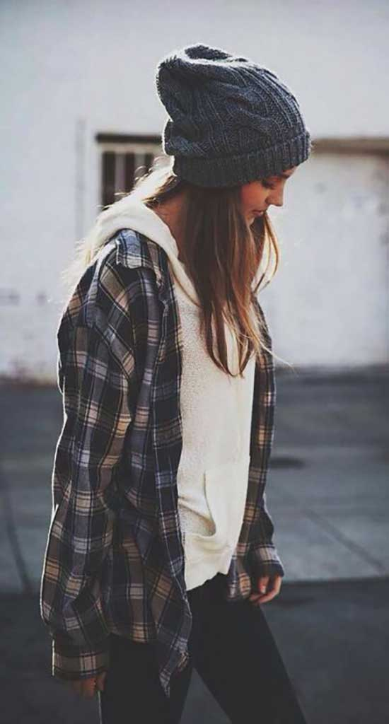 Cute Flannel Winter Outfits-12