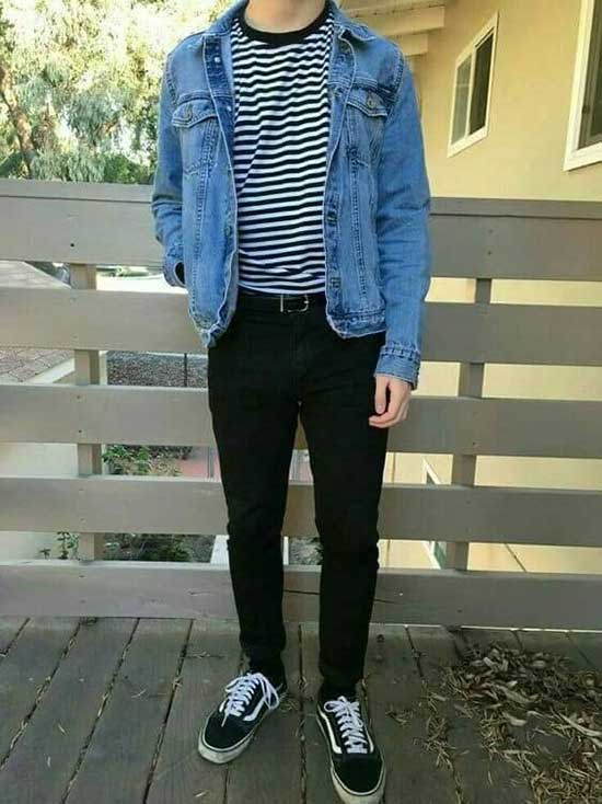 Casual Old Skool Vans Outfit for Guys-13