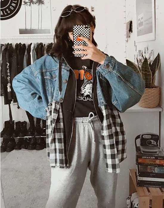 Cute Flannel Sporty Outfits-14
