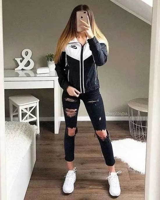 Sporty Ripped Jeans Outfits for Girls-14