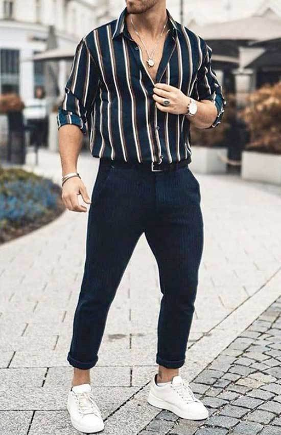 Striped Shirt White Shoes Outfit Men-14